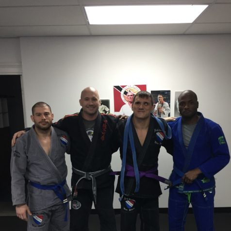 Adnan Gutic, purple belt. maurice bembry and max boyd, promoted to 2nd stripe blue belt